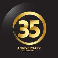 35 Year Anniversary Vector Template Design Illustration