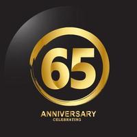 65 Year Anniversary Vector Template Design Illustration