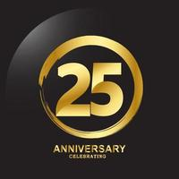 Ilustración de diseño de plantilla de vector de aniversario de 25 años