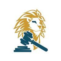 vector de plantilla de símbolo de diseño de ley de martillo de cabeza de león aislado