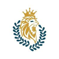 Lion Head Crown Leaf Design Symbol Illustration Isolated vector