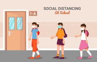 distanciamiento social en la escuela vector