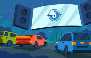 Drive In Cinema Concept vector