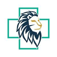 Lion Head Cross Health Design Symbol Template Isolated vector