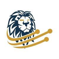 Ilustración de símbolo de diseño de tecnología de cabeza de león aislado vector