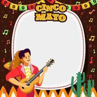 hombre de la guitarra cantando en el fondo del cinco de mayo vector