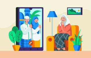 Celebrating Eid Mubarak with Forgiving Each Other vector