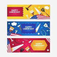 Labor Day Banner Template Set vector