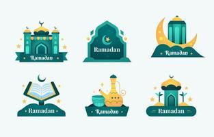 Eid Mubarak Badges Set vector