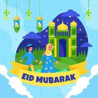 Boy and Girl Walking to Mosque Celebrate Eid vector