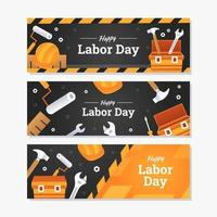 Happy Labor Day Banner Template Set vector