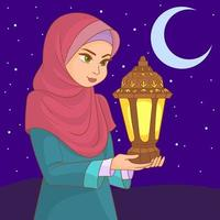 Muslim girl with veil carries in her hands a lamp on a Ramadan night vector