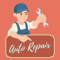 Clipart picture of a male mechanic cartoon character vector