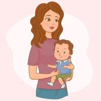 Mother and her toddler son, mother love concept vector