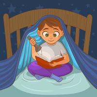 niño leyendo en la cama vector