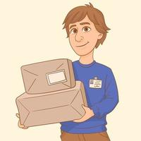 Delivery worker holding two cardboard boxes vector