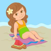 Little girl enjoying summer vacation on the beach with a juicy watermelon vector