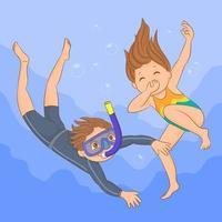 Little kids scuba diving vector