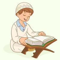 Muslim boy praying at home in Ramadan vector