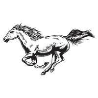 Horse running hand drawn vector illustration