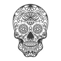 Ilustración de cráneo mexicano monocromo sobre fondo blanco. vector