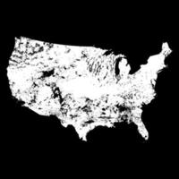 USA distressed map Vector on black background