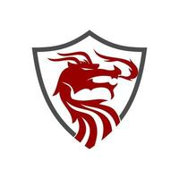 Dragon Shield Protection Design Mascot Vector Isolated