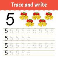 aprender el número 5. trazar y escribir. tema de invierno. práctica de escritura a mano. aprender números para niños. hoja de trabajo de desarrollo educativo. página de actividad de color. Ilustración de vector aislado en estilo de dibujos animados lindo.