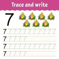 aprender el número 7. trazar y escribir. tema de invierno. práctica de escritura a mano. aprender números para niños. hoja de trabajo de desarrollo educativo. página de actividad de color. Ilustración de vector aislado en estilo de dibujos animados lindo.