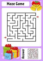 Square maze. Game for kids. Winter theme. Funny labyrinth. Education developing worksheet. Activity page. Cartoon style. Riddle for preschool. Logical conundrum. Color vector illustration.