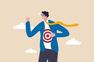 Recruitment target, head hunt, HR, human resources finding right candidate or target audience in marketing concept, businessman wearing eyeglasses tearing his suit reveal target symbol on his shirt. vector