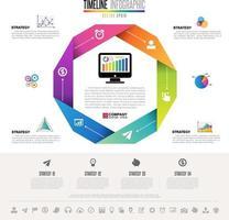 Plantilla de diseño de infografías con conjunto de iconos vector