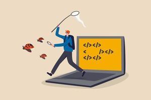 Programación, búsqueda de depuración de errores de software de aplicación y concepto de código de corrección, programador nerd joven, codificador o probador de software que se ejecuta desde una computadora portátil utilizando herramientas de depuración para atrapar mariquitas. vector