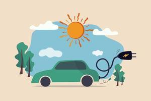 ev, coche eléctrico, energía limpia, respetuoso con el medio ambiente o tecnología de alta tecnología que utiliza energía solar reutilizable para alimentar el concepto de coche de batería, coche eléctrico con cable de alimentación y enchufe eléctrico con árbol natural y sol. vector