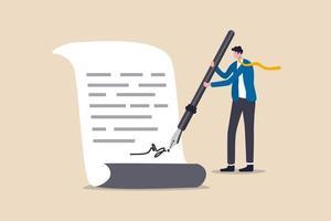trato comercial, acuerdo, contrato de firma y papeleo para préstamo bancario, hipoteca o política gubernamental, líder de empresario de confianza o cliente con pluma estilográfica firmando su firma en el papeleo. vector