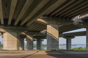 Bridge under construction with road photo