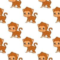 Color seamless pattern monkey. Cartoon style. Bright design. For walpaper, poster, banner. Hand drawn. Vector illustration isolated on white background.