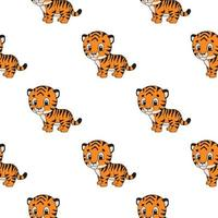 Color seamless pattern tiger. Cartoon style. Bright design. For walpaper, poster, banner. Hand drawn. Vector illustration isolated on white background.