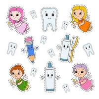 Set of stickers with cute cartoon characters. Dental clipart. Hand drawn. Colorful pack. Vector illustration. Patch badges collection. Label design elements. For daily planner, organizer, diary.