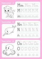 escribiendo letras m, n, o. página de seguimiento. hoja de trabajo para niños. hoja de práctica. aprender el alfabeto. personajes lindos. ilustración vectorial. estilo de dibujos animados. vector