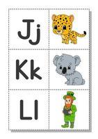 alfabeto inglés con personajes de dibujos animados j, k, l. tarjetas de memoria flash. conjunto de vectores. estilo de color brillante. aprender abc. letras minúsculas y mayúsculas. vector