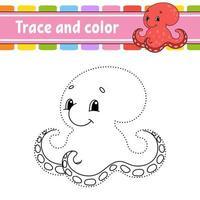 pulpo juego punto a punto. Dibuja una línea. para niños. hoja de trabajo de actividad. libro de colorear. con respuesta. personaje animado. ilustración vectorial. vector