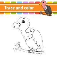 Dot to dot game vulture. Draw a line. For kids. Activity worksheet. Coloring book. With answer. Cartoon character. Vector illustration.