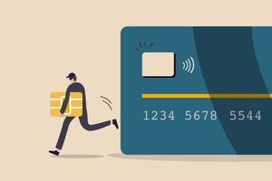 fraude en la cuenta de pago con tarjeta de crédito o débito, pirata informático o uso criminal phishing para robar dinero en línea, datos o concepto de identidad personal, ladrón de negro roba un barco inteligente de una tarjeta de débito o crédito. vector