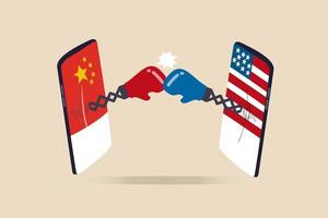 United States and China technology war, 2 countries compete to be leader of tech company, cold war sanctions and tariff concept, digital mobile phone with US and China flag fighting with boxing gloves vector