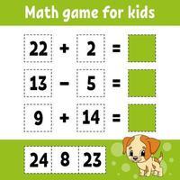 juego de matemáticas para niños. hoja de trabajo de desarrollo educativo. página de actividades con imágenes. juego para niños. Ilustración de vector aislado de color. personaje divertido. estilo de dibujos animados.