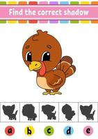Find the correct shadow turkey. Education developing worksheet. Activity page. Color game for children. Isolated vector illustration. Cartoon character.