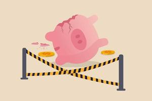 Overspending financial mistake, money lost in investment or stock market crash causing bankruptcy in economic crisis concept, broken pink piggy bank and money been stolen with yellow crime scene tape. vector