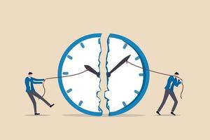 gestión del tiempo, fecha límite de trabajo o planificación para el concepto de tiempo de trabajo, empresario que usa una cuerda para tirar de la manecilla de los minutos y las horas para romper la metáfora del reloj del esfuerzo para administrar el tiempo para múltiples proyectos. vector