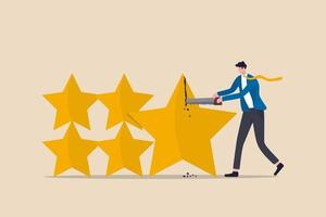 Investment rating downgrade, credit score of mortgage or bond or corporate loan concept, businessman credit score staff sawing star to downgrade or reduce score. vector